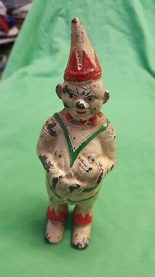 "Vintage Figural Cast Iron Clown Still Coin Bank 5 3/4"" High Collectible Painted"