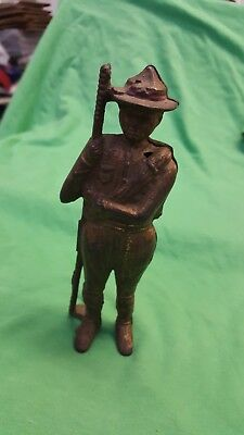 """Vintage Figural Cast Iron Boy Scout Still Coin Bank 5 7/8"""" High Collectible"""