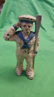 """Vintage Figural Cast Iron Sailor Still Coin Bank 5 1/2"""" High Collectible Painted"""
