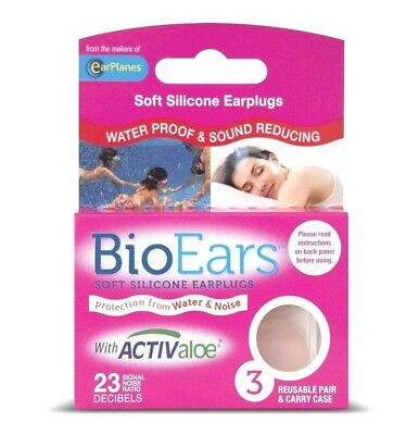 NEW Pink BioEars Soft Silicone Earplugs with Activaloe  3 x 3 Pairs