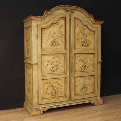 Armoire wardrobe Italian lacquered furniture painted wood 2 doors antique style