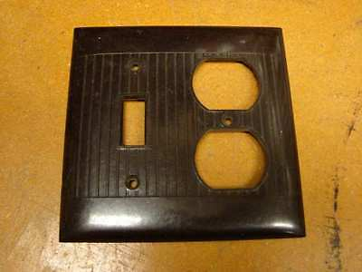 Vintage Bakelite Brown Sierra 2 gang Plug/switch Plate Cover Art Deco ribbed