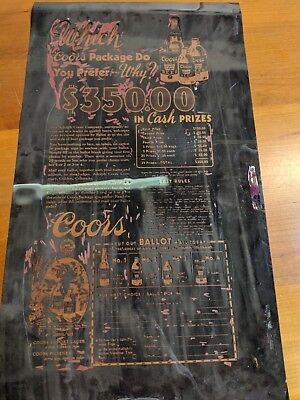 Antique Coors Collectible Beer Ad Original One of a kind! 1930s Photo Negative