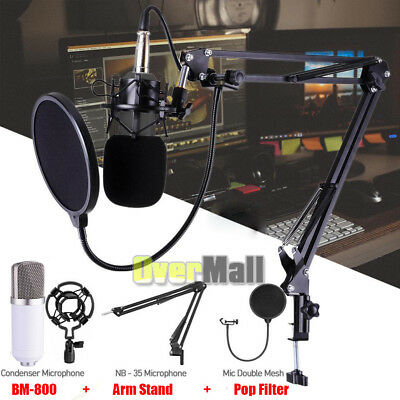 Condenser Microphone Kit USB Set Audio Studio Pop Filter Arm Stand Shock Mount