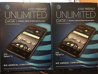 Lot Of 2 AT&T ZTE Maven 3 Prepaid Cellphone