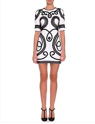 3b3145978a4e Dolce & Gabbana White Stretch Cady Mini Dress With Passementerie Trim ...