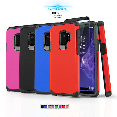 for SAMSUNG GALAXY S9 / S9 PLUS [DuoTEK Series] Phone Case Cover +Tempered Glass