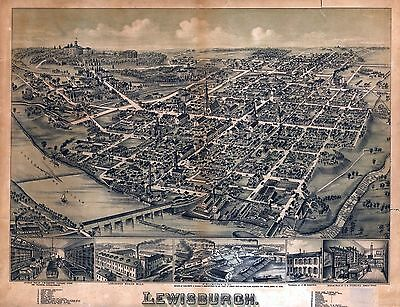 pa91 Antique old map PENNSYLVANIA genealogy family history LEWISBURG 1884