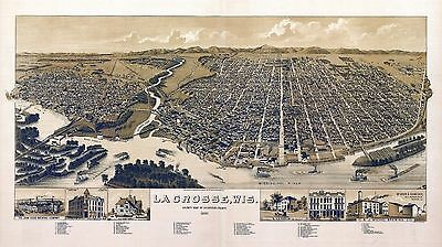 LA CROSSE WISCONSIN 1887 old panoramic map genealogy family history wi23