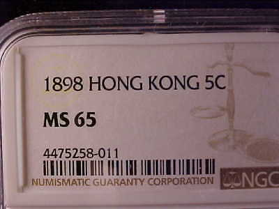 Hong Kong 5 Cents 1898 Ngc Ms 65