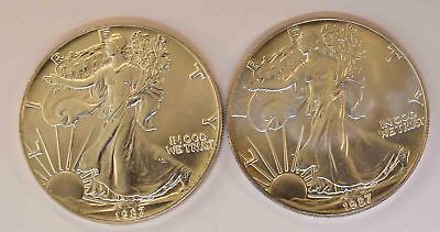 Lot Of 2 United States 1987 Silver Eagle Coins B.u