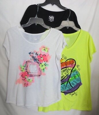 Lot of 3 Justice Tops Yellow Heart Peace White Happy Black Sparkle Girls Size 20