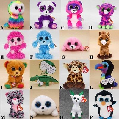 """6"""" Ty Beanie Boos Stuffed Animal Plush Doll Soft Kids Toys BRAND NEW WITH TAGS ."""