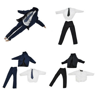Men 1/6 White Shirt Black Suit Jacket Clothes SetFashion Toy Doll Accessories