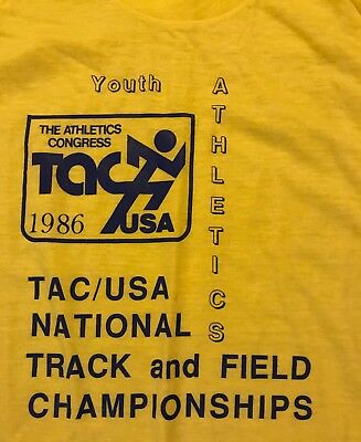 NOS Vintage The Athletic Congress USA Track Field Championships 1986 T shirt, L