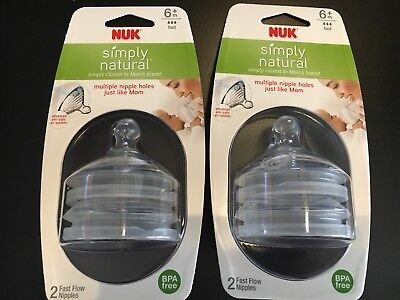NEW NUK Simply Natural Fast Flow Nipple, 2 Packs (4 Count). Free Shipping!