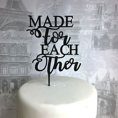 Wedding cake topper acrylic made for each other glitter rose gold mirror
