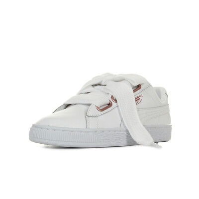 new concept a5e28 49e6e Chaussures Baskets Puma femme Basket Heart Leather Wn s taille Blanc Blanche