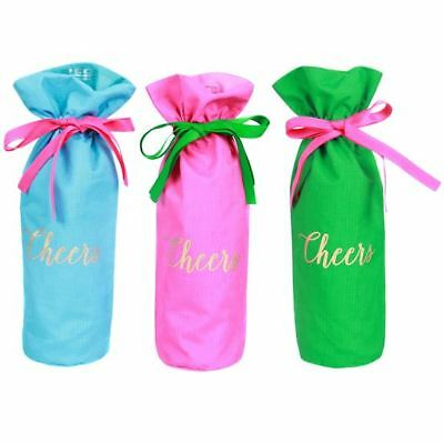 Wine Fabric Gift Bags Set of 3 Cheers Gold Foil Hot Pink Blue Green New