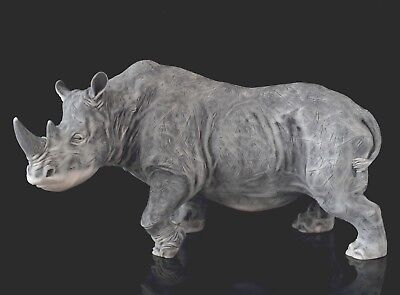 Rhinoceros Marble Figurine Russian Art Rhino Sculpture Stone Animal Statue 8""