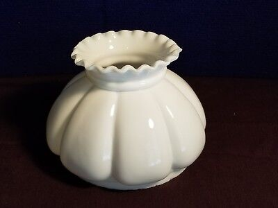 Milk Glass Melon Shape Pinched Top Hurricane Sconce Chandelier Oil Lamp Shade
