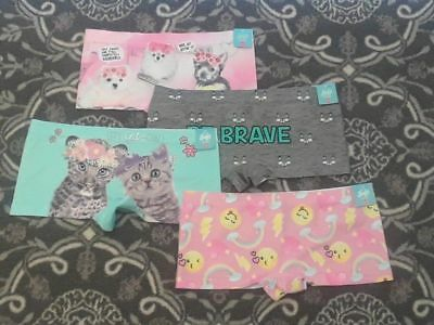 "NWT Justice girls size 8 10 OH SO SOFT ""Shorties"" underwear 4 pr puppies kittens"