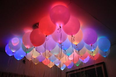 LED Balloons 48 Pack Light Up PERFECT PARTY Decoration Wedding Kids Birthday UK