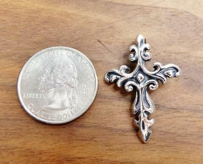 Solid 925 Sterling Silver Beautiful Scroll Ornate Small Cross Pendant Unique!