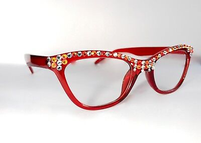 Cat-eye Reading glasses  made with Swarovski Crystals