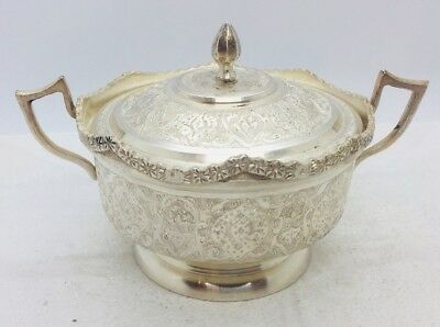 Persian Antique Sterling Silver Ornate Handled Sugar Bowl 314g