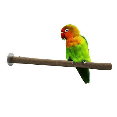Wood Parrot Bird Cage Perches Bird Stand Pet Budgie Hanging Chew Toy 5 Sizes