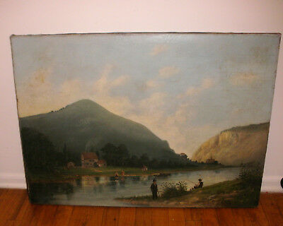 Antique 19thc oil painting river people fishing mountains kids landscape Warnock