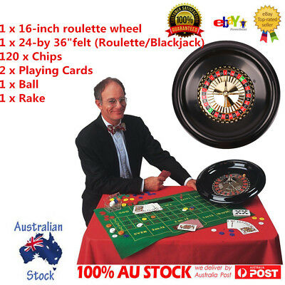 "16"" Deluxe Roulette Wheel Game Table Set Bar with Accessories Felt Layout +Rake"