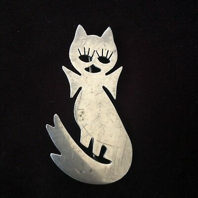 Vintage Mexican Sterling Silver Cat Ghost Pin / Brooch