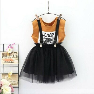 Baby Girl Toddler Kids Sleeveless Cotton Clothes Sets Top+Tutu Lace Skirt Outfit
