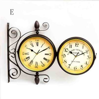 Double Sided Dual Clock Station Garden Wall Mounted With Bracket