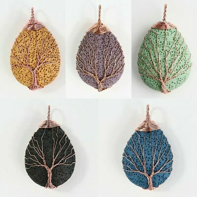 Natural Lava Rock Teardrop Gemstone Tree of Life Wire Wrap Pendant For Necklace