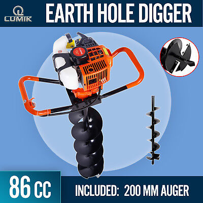 86cc Post Hole Digger Earth Auger Petrol Drill Bits Fence Borer with 200mm Auger