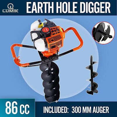 86cc Post Hole Digger Earth Auger Petrol Drill Bits Fence Borer with 300mm Auger