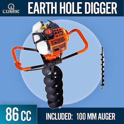 86cc Post Hole Digger Earth Auger Petrol Drill Bits Fence Borer with 100mm Auger