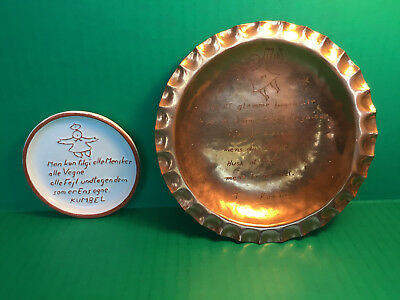 2 KUMBEL/PIET HEIN Danish Sayings Copper Hand Engraved Wall Plaque +Pottery Dish