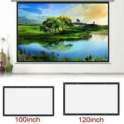 "Wall Mounted 100"" 16:9 Home Movie Manual Projection Screen Pull Down Projector"
