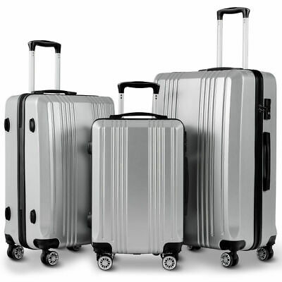 "GLOBALWAY 3Pc Luggage Set 20"" 24"" 28"" Travel Trolley Suitcase w/TSA Lock Spinner"