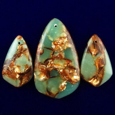 3pcs Snake Skin Jasper Gold Copper Bornite Stone Pendant Bead Set JT46