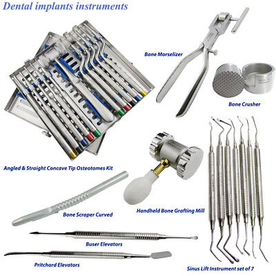 Sinus Lift Osteotomes Dental Surgery Concave tip Offset Kit Periosteal Elevators