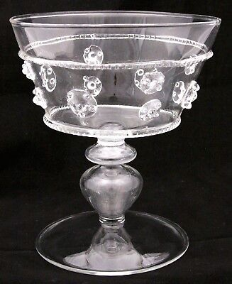 Vintage Hand Blown Wine Goblet Glass Venitian Applied Medallions Medieval Style