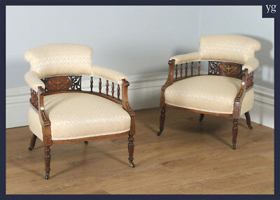 Antique Edwardian Pair Rosewood Mahogany Marquetry Inlaid Upholstered Armchairs