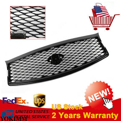 For 2014-2017 Infiniti Q50 Jdm Eau Gloss Black Out Front Hood Grille Replacement
