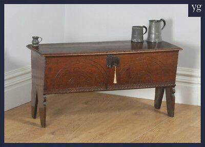 Antique Charles I English West Country Oak Six Plank Boarded Sword Chest Coffer
