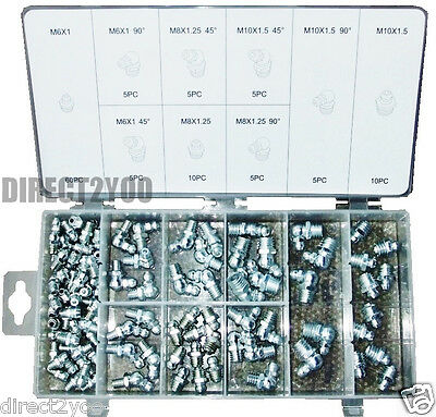 Toolzone 110pc Grease Nipples Fittings M6 M8 M10 45° 90° Assorted Set +case
